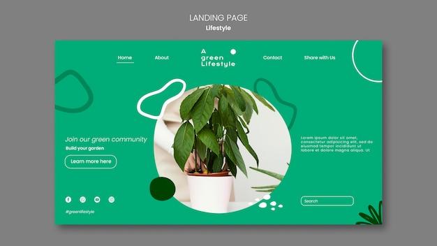 Modello di pagina di destinazione per uno stile di vita verde con pianta
