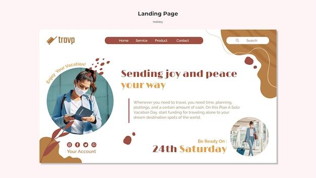 Modello di pagina di destinazione per viaggi di vacanza con persona che indossa una maschera medica