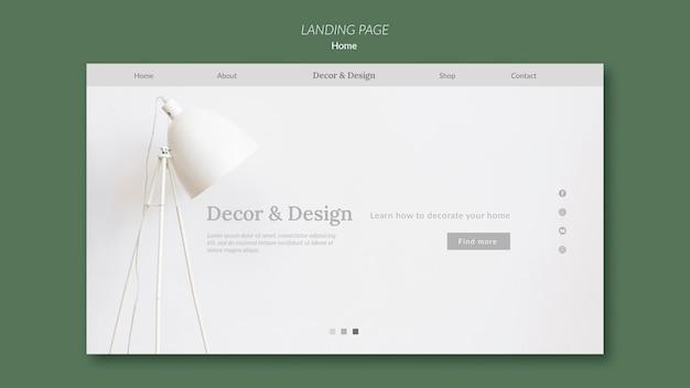 Modello di pagina di destinazione per l'arredamento e il design della casa