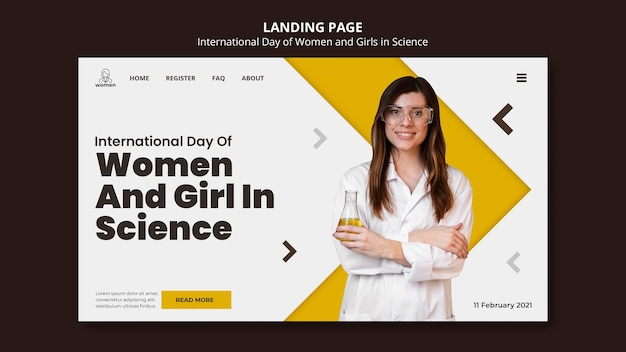 Modello di pagina di destinazione per donne e ragazze internazionali nel giorno della scienza