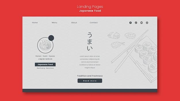 Modello di pagina di destinazione per ristorante di cucina giapponese