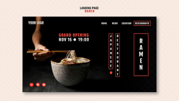 Modello di pagina di destinazione per ristorante giapponese di ramen