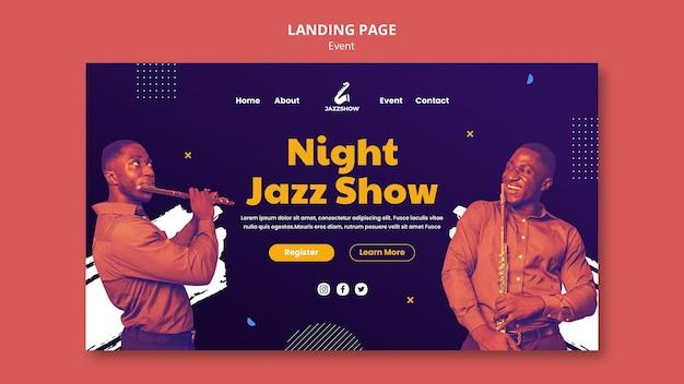 Modello di pagina di destinazione per eventi di musica jazz