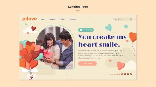 Modello di pagina di destinazione per l'amore con coppia romantica e cuori