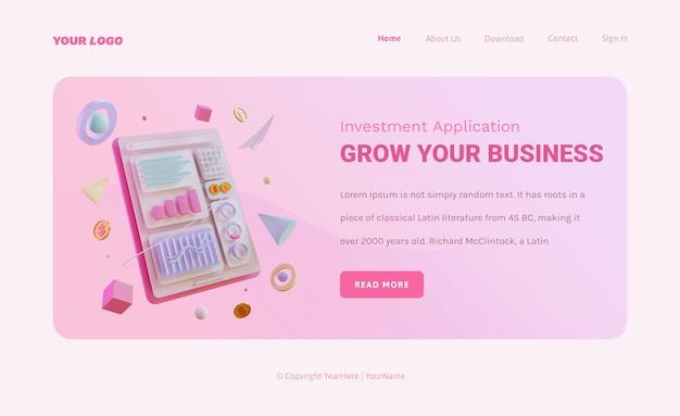 Modello di pagina di destinazione delle statistiche di marketing con grafici 3d