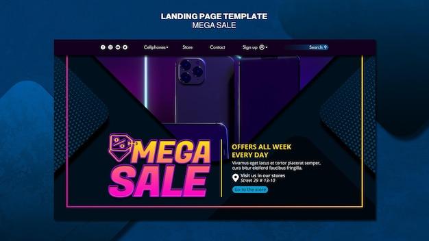 Modello di pagina di destinazione per mega vendita