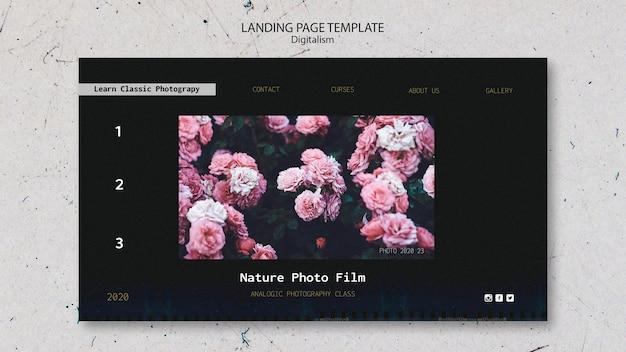 Modello di pagina di destinazione pellicola fotografica della natura