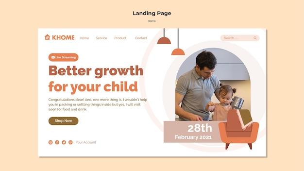 Modello di pagina di destinazione per la nuova casa di famiglia