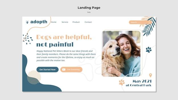 Modello di pagina di destinazione per l'adozione di animali domestici