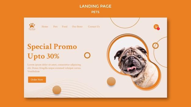 Modello di pagina di destinazione per negozio di animali con cane