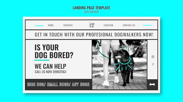 Modello di pagina di destinazione per azienda professionale di passeggiate con cani