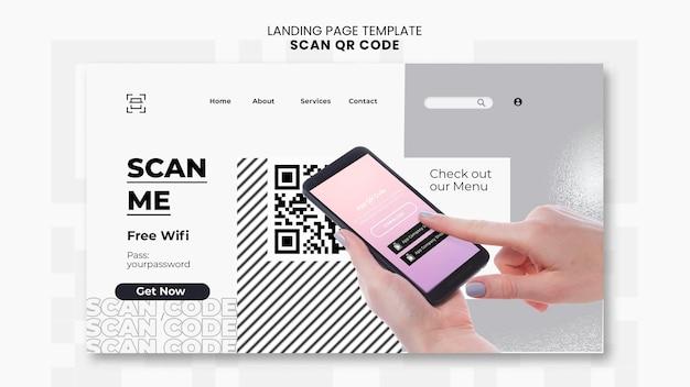 Modello di pagina di destinazione per la scansione del codice qr con smartphone