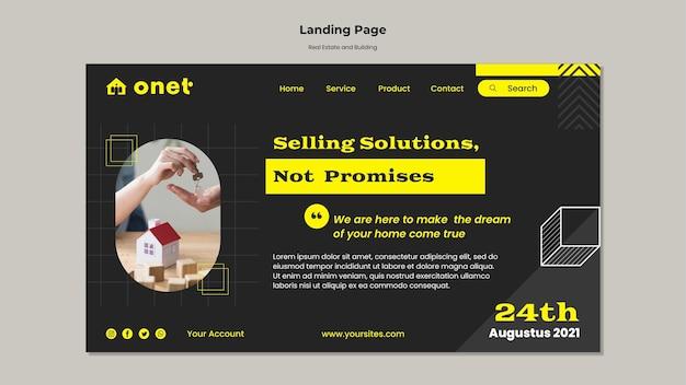 Modello di pagina di destinazione per immobili e edifici