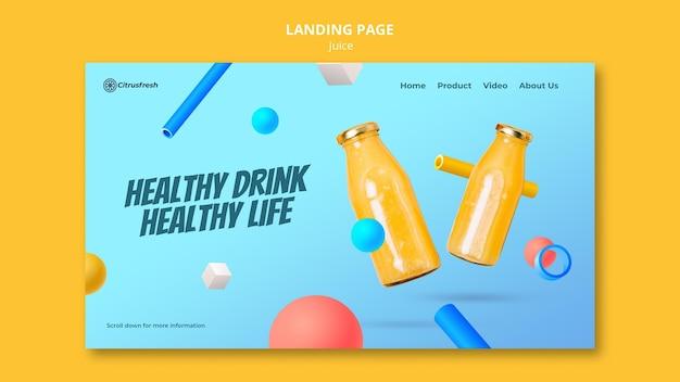 Modello di pagina di destinazione per rinfrescare il succo d'arancia in bottiglie di vetro