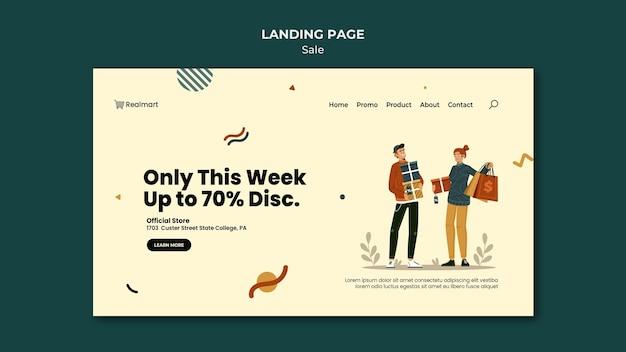 Modello di pagina di destinazione in vendita con persone e borse della spesa