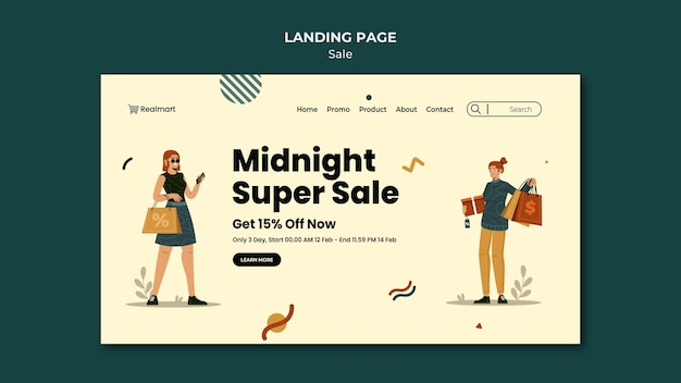 Modello di pagina di destinazione in vendita con donne e borse della spesa