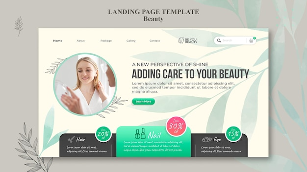 Modello di pagina di destinazione per la cura della pelle e la bellezza con la donna