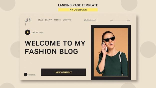 Modello di pagina di destinazione per influencer di moda sui social media