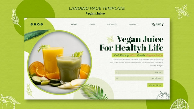 Modello di pagina di destinazione per società di consegna di succhi vegani