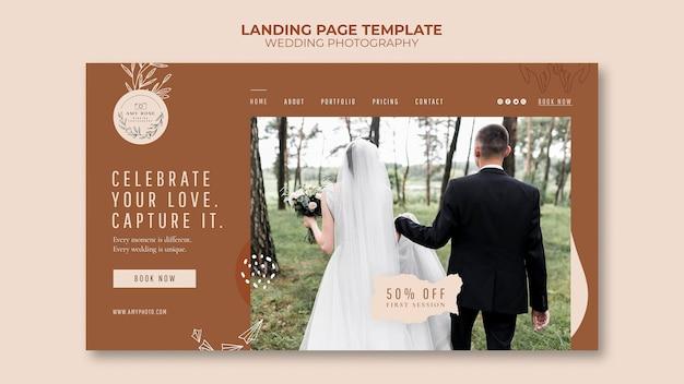 Modello di pagina di destinazione per il servizio di fotografia di matrimonio