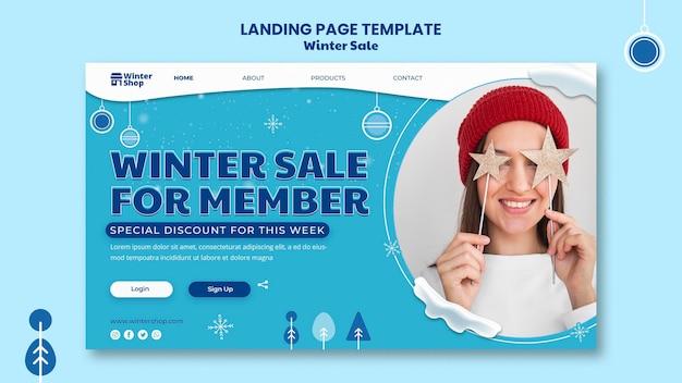 Modello di pagina di destinazione per la vendita invernale