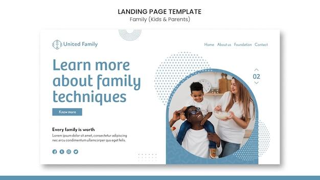 Modello di pagina di destinazione con famiglia e bambini