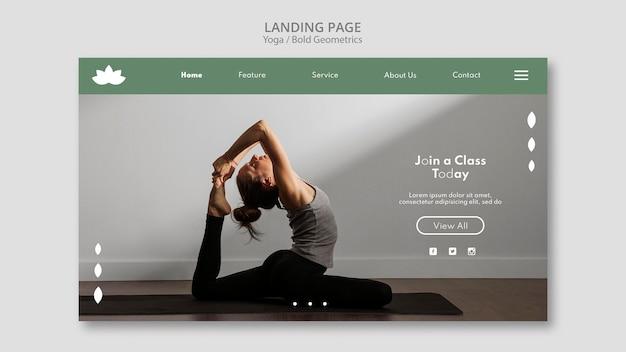 Modello di pagina di destinazione con donna che pratica yoga