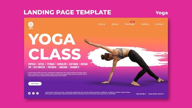 Modello di pagina di destinazione per lezione di yoga con donna