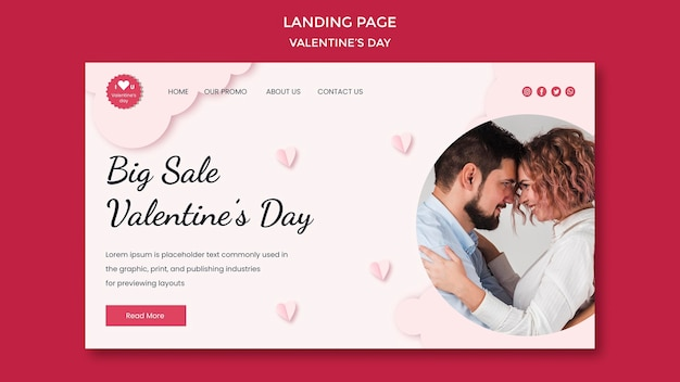 Pagina di destinazione per san valentino con coppia innamorata