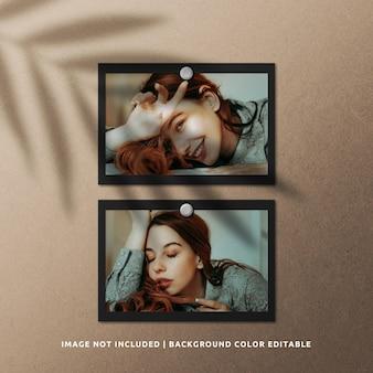 Mockup di cornice per foto in carta nera paesaggio con ombra vegetale