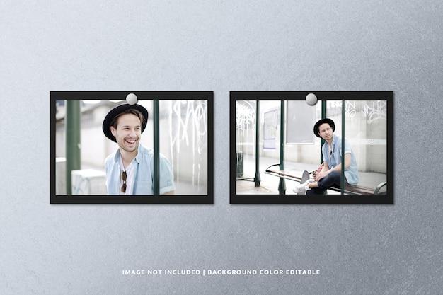 Mockup di cornice per foto in carta nera di paesaggio