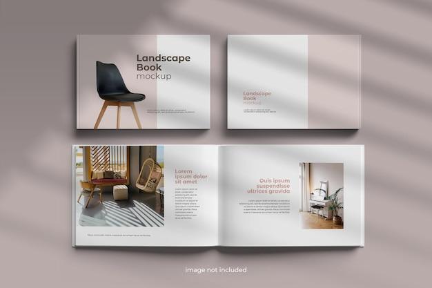 Mockup dell'album del libro del paesaggio
