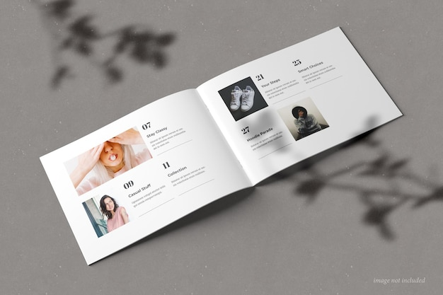 Brochure del paesaggio e vista prospettica del mockup del catalogo