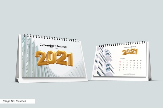 Mockup di calendario scrivania paesaggio isolato