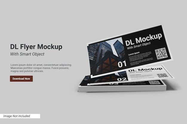 Paesaggio dl flyer mockup con modello di testo
