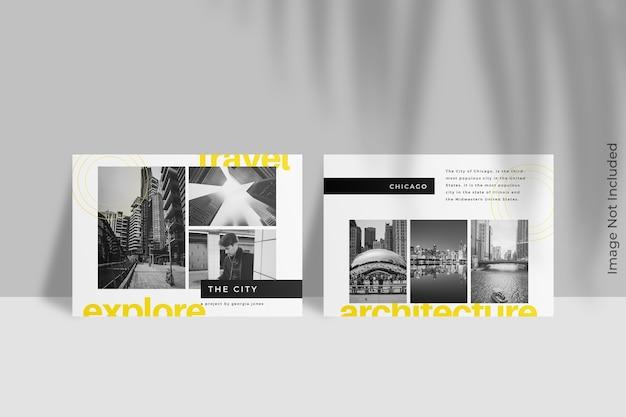 Mockup di brochure flyer paesaggio con ombra foglia