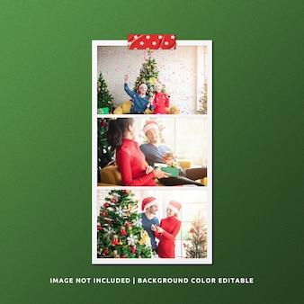 Mockup di foto con cornice di carta orizzontale per natale