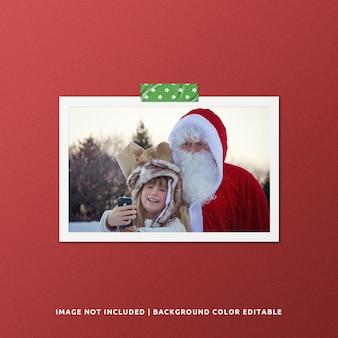 Mockup di foto con cornice in carta per natale