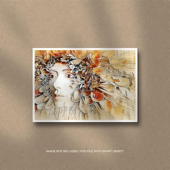 Mockup di foto con cornice di carta orizzontale e sovrapposizione di ombre