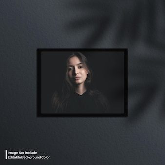 Mockup di foto con cornice di carta orizzontale con ombra
