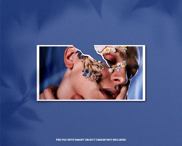 Mockup di cornice di carta strappata paesaggio psd premium