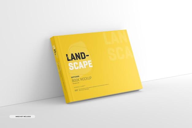 Modello di libro con copertina morbida di paesaggio