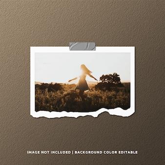 Mockup di foto cornice di carta strappata paesaggio