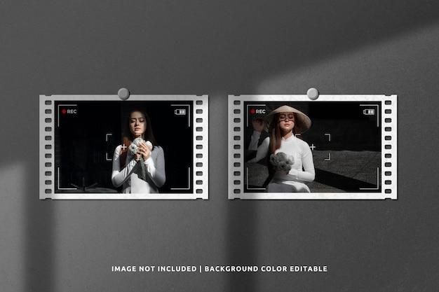 Mockup di frame di pellicola di carta bianca del paesaggio con ombra