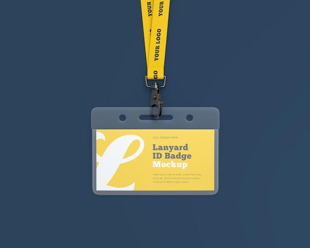 Mockup di badge identificativo per cordino