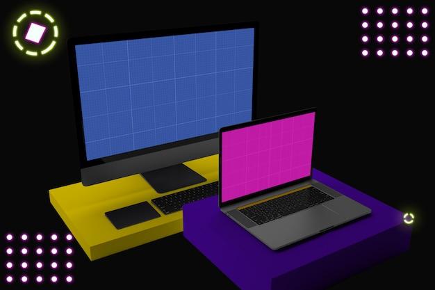 Computer portatile e desktop con schermo mockup, su piedistallo, stile memphis