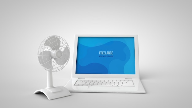 Rendering 3d di mockup estivo di laptop e fan Psd Premium