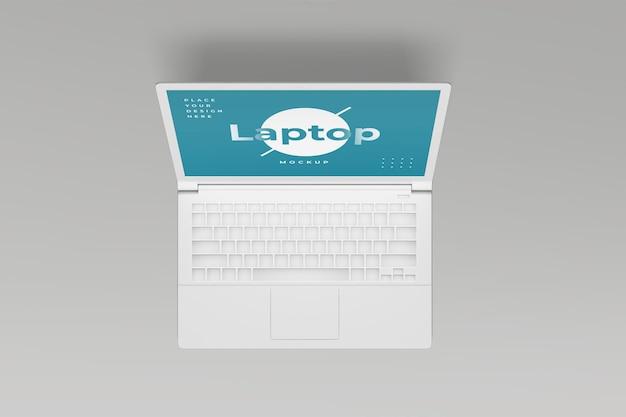 Laptop mockup design isolato vista dall'alto isolata
