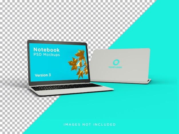Vista frontale realistica del mockup del computer portatile con logo isolato