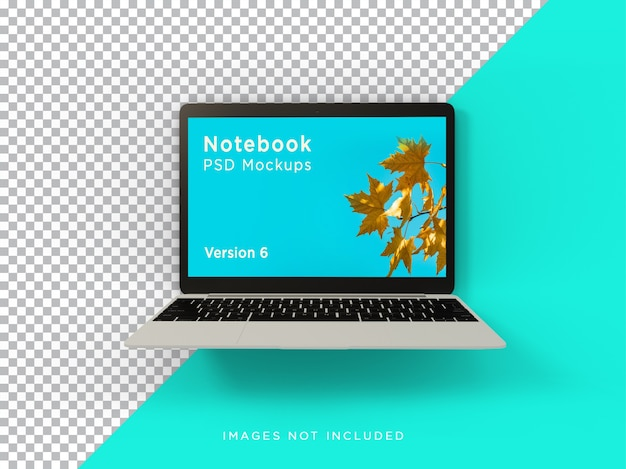 Laptop mockup realistico in bilico vista frontale isolata